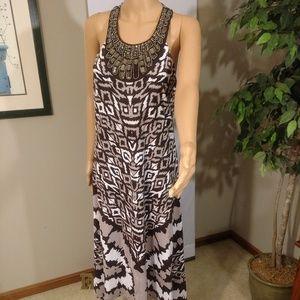 INC Brown Halter Dress with Jeweled Neckline